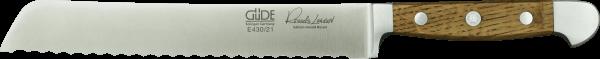 Güde Brotmesser 21 cm, rechts/ links, Alpha Fasseiche, beidseitige Welle